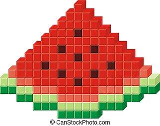 Watermelon pixel art - Watermelon slice pixel art icon.