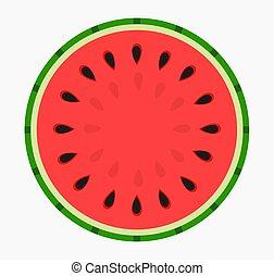Watermelon round slice fruit icon.