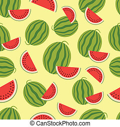 Watermelon seamless background. Vector illustration.