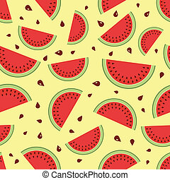 Watermelon seamless background. Vector illustration.