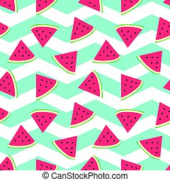 Watermelon seamless background with nice turquoise zig zag background.