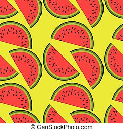 Watermelon seamless pattern. Flat style vector illustration