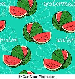 Watermelon seamless pattern, fruit background