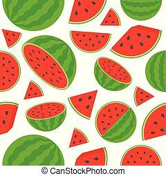 Watermelon seamless pattern on white background, flat design
