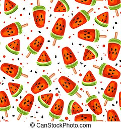 Watermelon seamless pattern - Watermelon and icecream...
