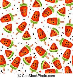 Watermelon seamless pattern - Watermelon and icecream...
