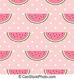 Watermelon seamless pattern with polka dot