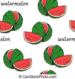 Watermelon seamless vector pattern, fruit background