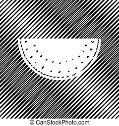 Watermelon sign. Vector. Icon. Hole in moire background.