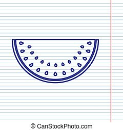Watermelon sign. Vector. Navy line icon on notebook paper as background with red line for field.