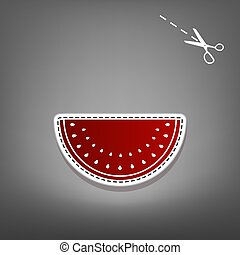 Watermelon sign. Vector. Red icon with for applique from paper with shadow on gray background with scissors.