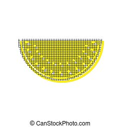Watermelon sign. Vector. Yellow icon with square pattern duplica
