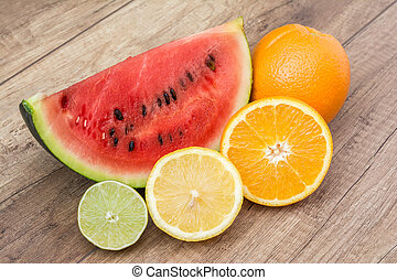 Watermelon Slice And Fruits
