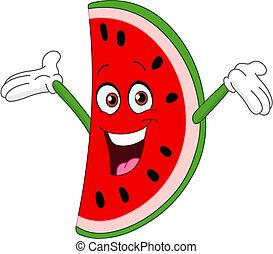 Watermelon slice - Cartoon watermelon slice raising his ...