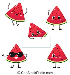 Watermelon slice character with funny face