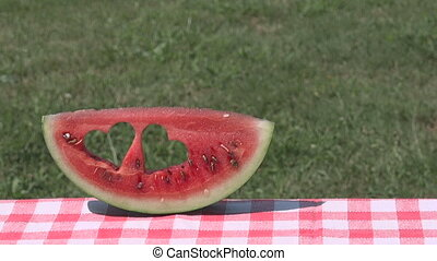 Watermelon slice heart fruit, summer love health symbol -...