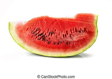 Watermelon slice isolated on white background, ecologic food