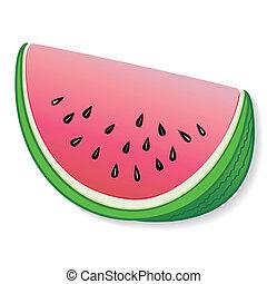 Slice of fresh, natural garden watermelon. EPS8 compatible.