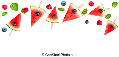 Watermelon slice popsicles frame isolated on white ...