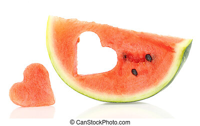 Watermelon slice with heart shape hole