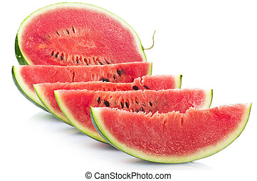 Watermelon sliced on the white