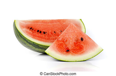 Watermelon slices, Fruit for summer isolated on white background.