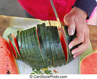 Watermelon slices on a plate.