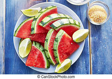 watermelon slices on plate close up