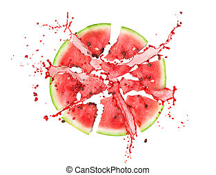watermelon slices with juice splashes