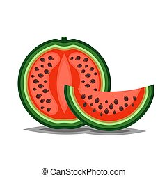 Watermelon slised parts icon in flat and siple style for summer illustration