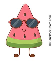 Watermelon smiling with sunglasses cartoon