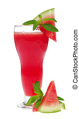 Watermelon smoothie garnished with watermelon slices and mint leaves isolated on white