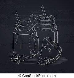 Watermelon smoothie in mason jar. - Watermelon smoothie in...