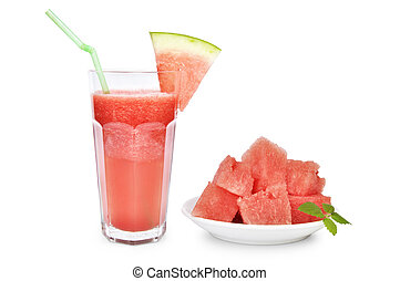 Watermelon smoothie with watermelon slices on white plate...