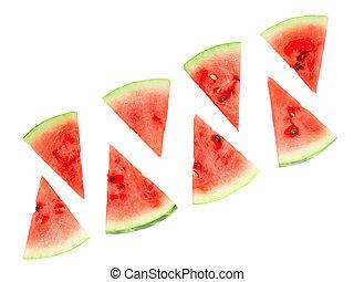 watermelon., snede, sappig, vrijstaand