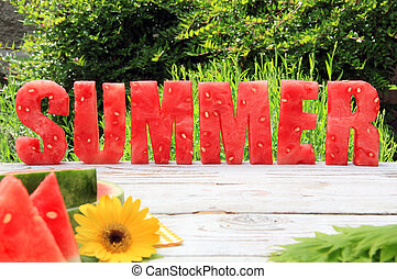 Watermelon summer - Summer spelled in letters cut out of...