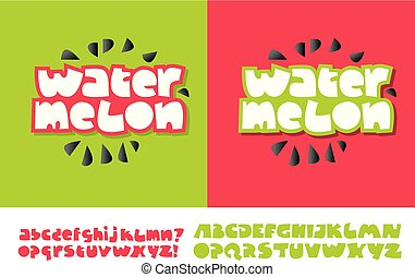 Watermelon Text For Print And Web On Red Green Colors Alphabet Set In Cute