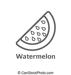 Watermelon thin line vector icon. Isolated melon berry linear style for menu, label, logo. Simple vegetarian food sign