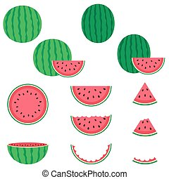 Watermelon vector icons set