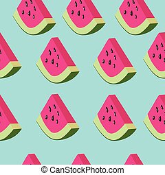 Watermelon vector pattern - Vector seamless pattern with...