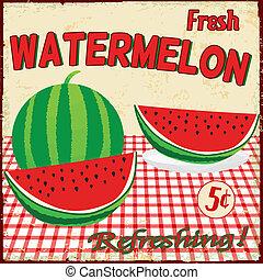 Watermelon vintage poster - Watermelon vintage grunge...
