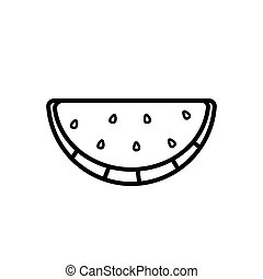 Watermelon wedge line icon isolated on a white background - ...