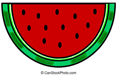 Watermelon Wedge - simple clip-art illustration of a slice ...