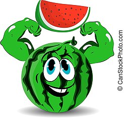 Watermelon with biceps in hands red slice, cartoon on white background.