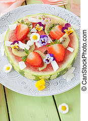 Watermelon with fresh fruits