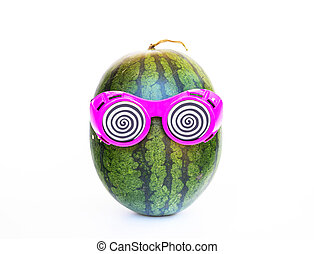 Watermelon with glasses on white background