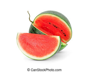 watermelon with half isolated on white background