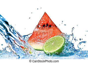 watermelon with lime and water splash isolated on white