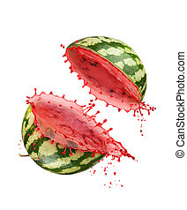 Watermelon with slice and splash isolated on white background