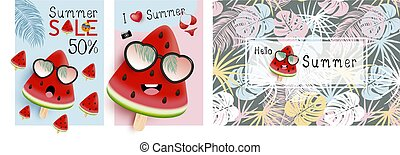 Watermelon with sunglasses and tropical leaves pattern vector illustration summer concept